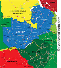 Zambia map - Highly detailed vector map of Zambia with ...