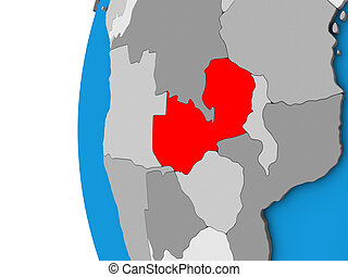Zambia on 3D globe