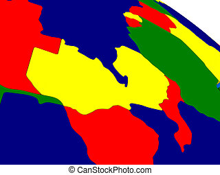 Zambia on colorful 3D globe