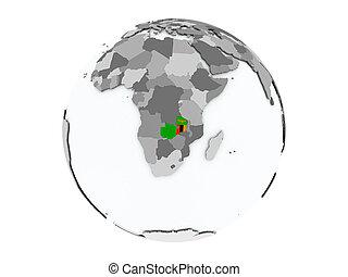 Zambia on globe isolated