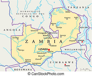 Zambia Political Map with capital Lusaka, national borders, most important cities, rivers and lakes. Illustration with English labeling and scaling.