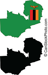 vector map and flag of Zambia with white background.