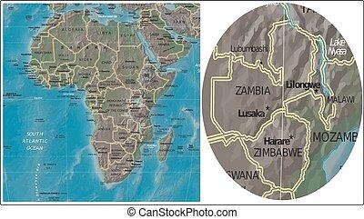 Zambia Zimbabwe and Africa map