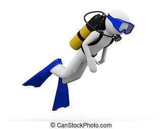 zambullidor de la escafandra autónoma