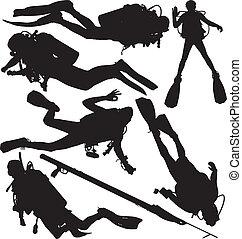 zambullidor de la escafandra autónoma, vector, siluetas