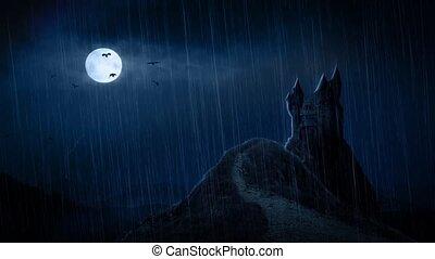 zamek, burza, spooky