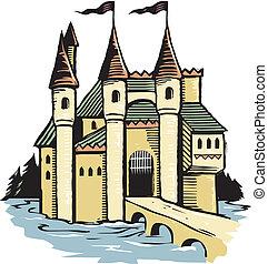 zamek, drzeworyt