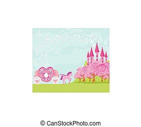 zamek, fairytale, piękny, różowy