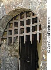 zamek, gated, wejście