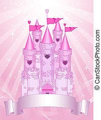 zamek, karta, różowy, miejsce