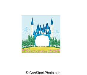zamek, magia, fairytale, ułożyć, księżna