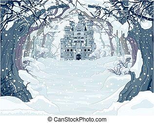 zamek, magia, zima