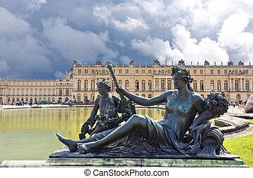 zamek, paryż, versailles, francja