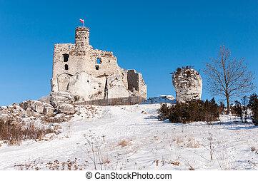 zamek, polska, gruzy, średniowieczny, mirow