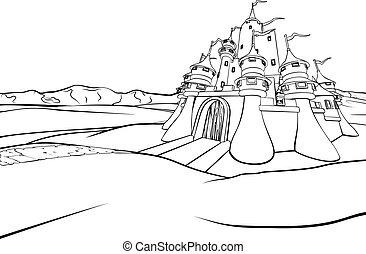 zamek, rysunek, tło, scena