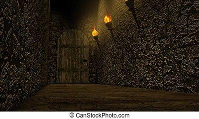 zamek, stary, korytarz