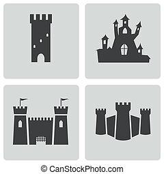 zamek, wektor, czarnoskóry, komplet, ikony