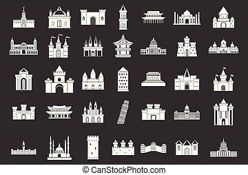 zamek, wektor, komplet, szary, ikona