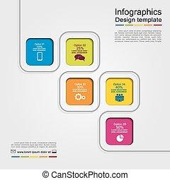 zameldować, infographic, wektor, template., ilustracja