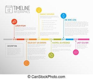 zameldować, timeline, infographic, szablon, wektor