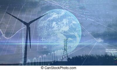 zamiana, podwyższając, turbina, tokarski, wykres, wiatr, ...