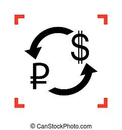 zamiana, poznaczcie., dolar, ognisko, na, rouble, waluta, czarnoskóry, ikona