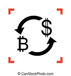 zamiana, poznaczcie., dollar., bitcoin, waluta nas, czarnoskóry, foc, ikona