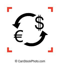 zamiana, poznaczcie., ognisko, waluta nas, czarnoskóry, dollar., euro, ikona