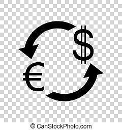 zamiana, poznaczcie., transp, waluta nas, czarnoskóry, dollar., euro, ikona