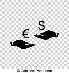 zamiana, ręka., ręka, waluta, czarnoskóry, dollar., euro, ikona