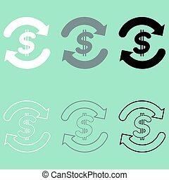 zamiana, symbol, szary, waluta, czarnoskóry, biały, icon.