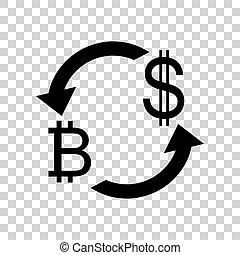 zamiana, tra, poznaczcie., bitcoin, waluta nas, czarnoskóry, dollar., ikona