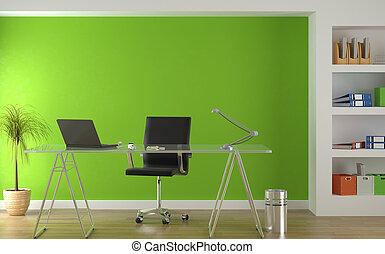 zamiar wnętrza, od, nowoczesny, zielony, biuro