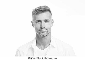 zamknięcie, beauty., concept., glance., sklep, hairdresser., dobry, fryzjer, kasownik przeglądnięcie, obrządził konia, samiec, twarzowy, pociągający, do góry, ageing., rodzaj, model., hair., przystojny, anti, człowiek, dojrzały, dobrze, aparat fotograficzny