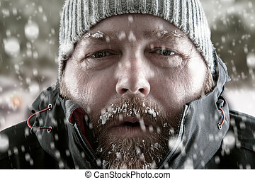 zamknięcie, człowiek, do góry, burza, śnieg