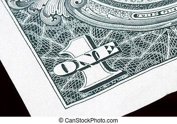 zamknięcie, dolar, do góry, jeden
