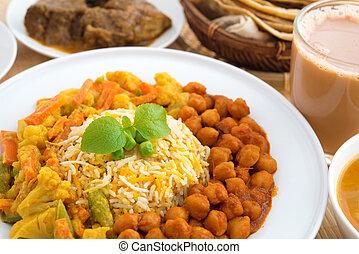 zamknięcie, indianin, do góry, ryż