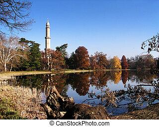 zamknięcie, jezioro, minaret