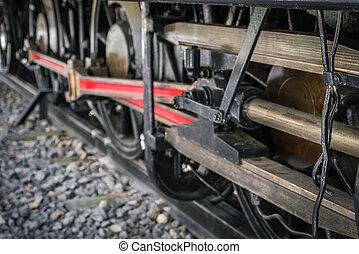 zamknięcie, koła, pociąg, stary, do góry