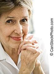 zamknięcie, kobieta, do góry, starszy, szczęśliwy