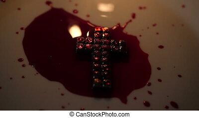 zamknięcie, krew, do góry, świeca, krzyż, jezus, zaświecić