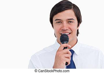 zamknięcie, mikrofon, rzemieślnik, do góry, uśmiechanie się