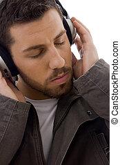 zamknięcie, muzyka, do góry, słuchający, człowiek