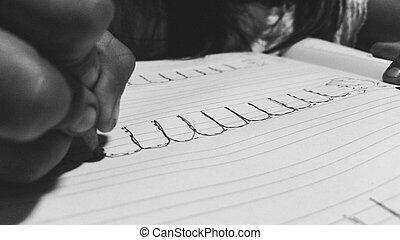 zamknięcie, panieński, ręki do góry, pisanie