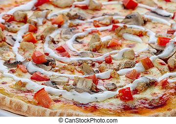 zamknięcie, pizza, do góry