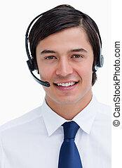 zamknięcie, słuchawki, poparcie, telefon, samiec, pracownik, do góry