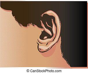 zamknięcie, ucho, wektor, do góry, ilustracja