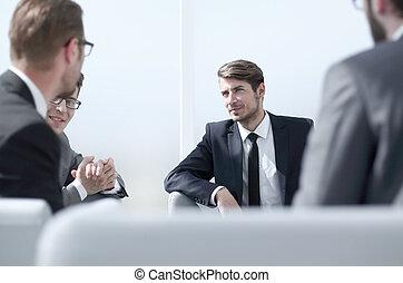 zamknięcie, up.business, wzmacniacz, mówiąc, na, niejaki, handlowy, meeting.