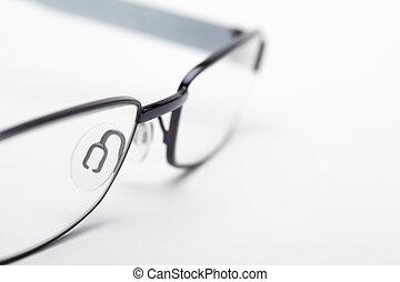 zamknięcie, wizerunek, oko, do góry, okulary