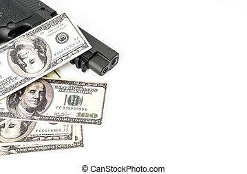 zamknięcie, wizerunek, pistolet, dolar, do góry